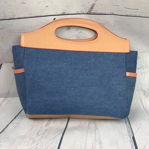 Elle Denim And Leather Bag W/ Removable Straps